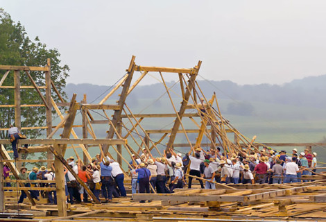A community barn-raising